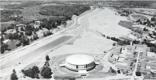 Aerial view of ALPP project and Ohio University Convocation Center